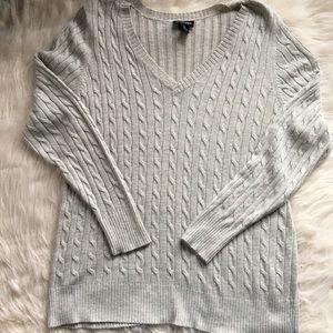 Lane Bryant cable knit grey sweater angora blend